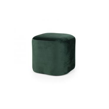 Petit pouf en velours Vert