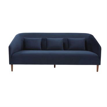 Canapé 3 places en velours bleu nuit Nottingham