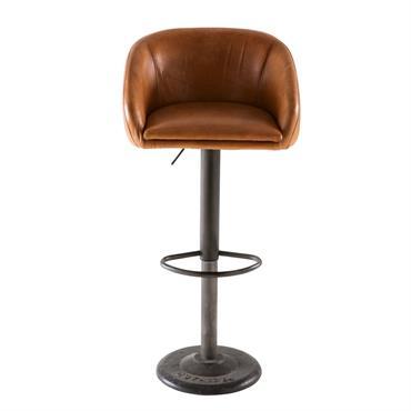 Chaise de bar indus en cuir camel Gama