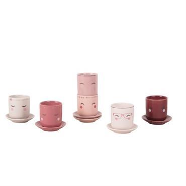 Coffret 6 tasses et soucoupes en porcelaine