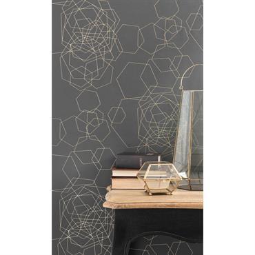 Papier peint intissé graphique gris foncé H 10