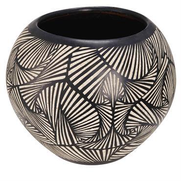 Pot de jardin en terre cuite motifs noirs et blancs H