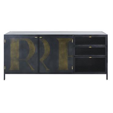 Buffet 2 portes 3 tiroirs en métal gris anthracite imprimé Rockefeller