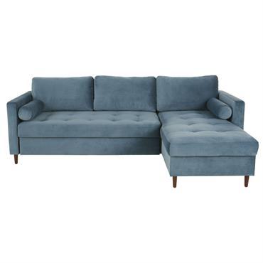 Canapé d'angle convertible 4 places en velours bleu Olivia