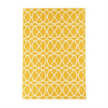 Tapis géométrique design en polypropylène jaune 160x230
