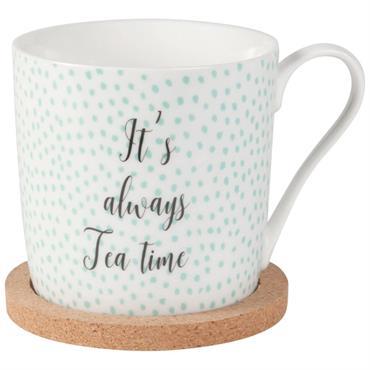 Tasse à thé en faïence imprimée et soucoupe en liège