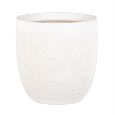 Cache-pot en grès blanc motifs graphiques H16