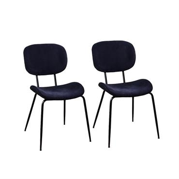 Lot de 2 Chaises en tissu et pieds métal - Bleu