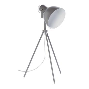 Lampe trépied en métal gris