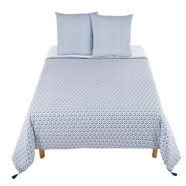 Parure de lit en coton motifs bleus 240x260