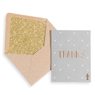 Carte et enveloppe 8x6cm THANKS