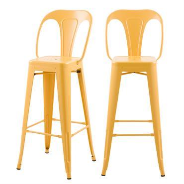 Chaise de bar 76 cm en métal jaune mat