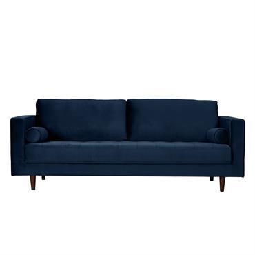 Canapé 3 places en velours bleu foncé