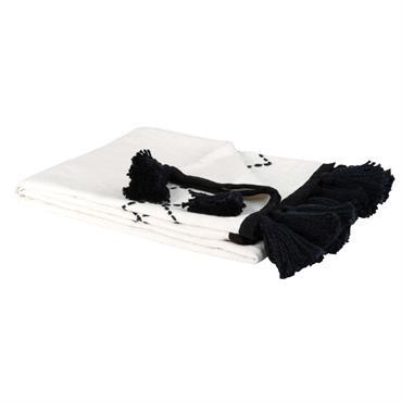 Plaid en coton blanc motifs et franges noirs 130x170