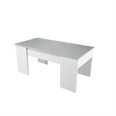Table basse blanche/béton avec plateau relevable et rangement