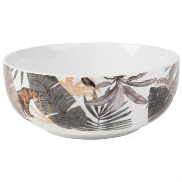 Saladier en porcelaine blanche imprimé jungle