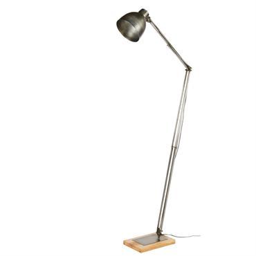 Lampadaire articulé en métal brossé et manguier H168