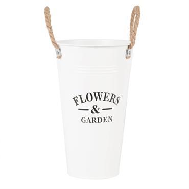 Pot de fleurs en métal blanc