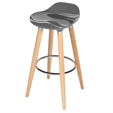 Tabouert de bar 73 cm assise en plastique gris
