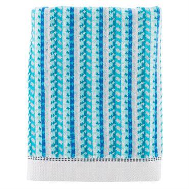 Le drap de douche bleu Daïquiri en 100% velours jacquard de coton 500g/m². La qualité du velours souligne la précision des motifs géométriques.A mixer avec LOLA blanc, lagon ou céladon ...