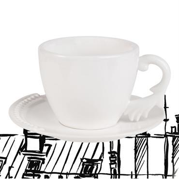 Tasse et soucoupe à thé en faïence blanche Chantal Thomass