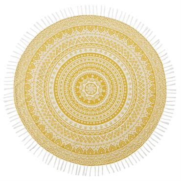Fouta en coton jaune motif mandala blanc D150