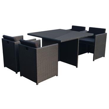 Table et chaises 4 places encastrables en résine noir/noir