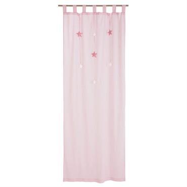 Rideau à passants en coton rose à l'unité 102x250