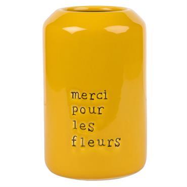 Cache-pot en céramique jaune imprimé noir H22