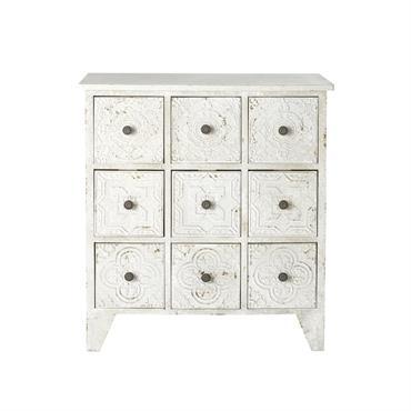 Alliez douceur et authenticité avec le cabinet de rangement 9 tiroirs blanc motifs arabesques GLORIA . Misant sur un aspect usé et une façade ornée de motifs géométriques, ce meuble ...