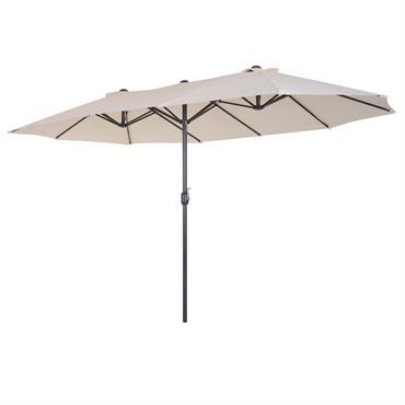Grand parasol acier polyester haute densité crème