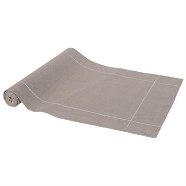 Chemin de table en coton gris et argenté L150