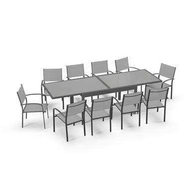 Table de jardin extensible 10 places en aluminium anthracite et gris