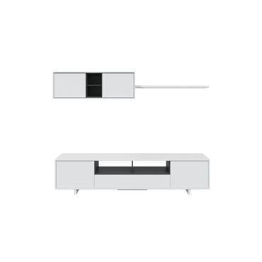 Meuble TV blanc 3 portes et 1 niche avec étagère murale L200cm