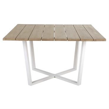 Table de jardin carrée en acacia massif et métal blanc 8 personnes