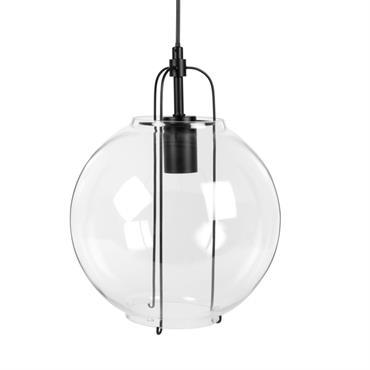 Suspension globe en verre et métal noir