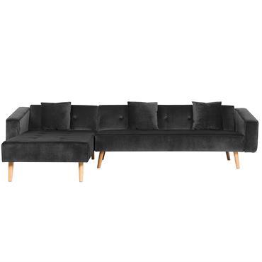 Apportez plus de confort dans votre intérieur grâce à ce canapé d'angle pratique ! L'assise en velours noir profond dégage une ambiance à la fois élégante et moderne dans votre ...