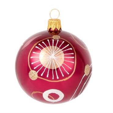 Boule de Noël en verre rouge imprimé graphique
