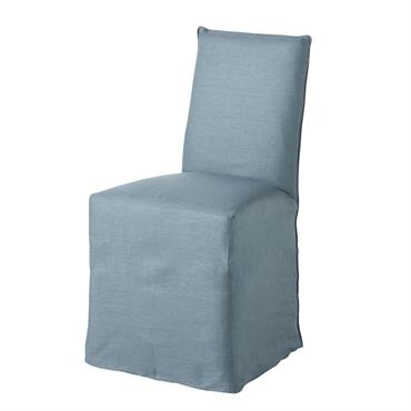 Housse de chaise en lin lavé bleu pétrole