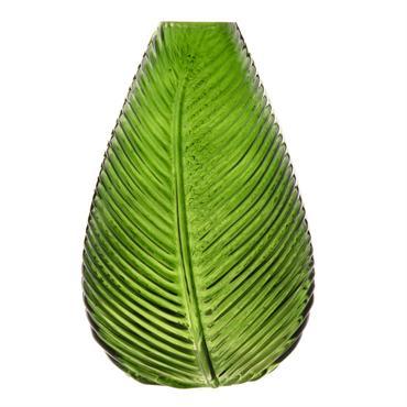 Vase feuille en verre teinté vert H22
