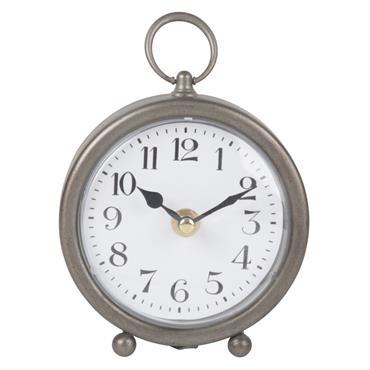 Horloge à poser en métal gris 13x14