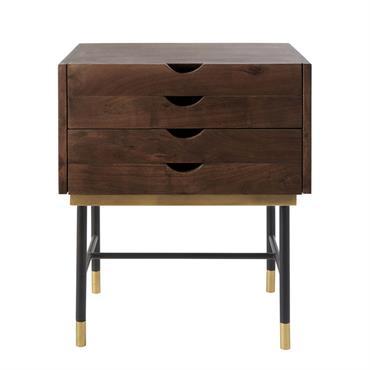 Table de chevet 4 tiroirs en acacia et métal noir Sterling