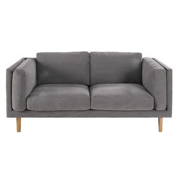 Canapé 2/3 places en coton gris Harper