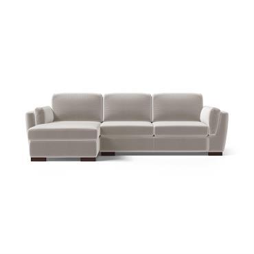 Canapé d'angle gauche 4 places en velours taupe