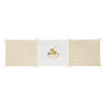 Tour de lit bébé en coton blanc et jaune moutarde imprimé léopard