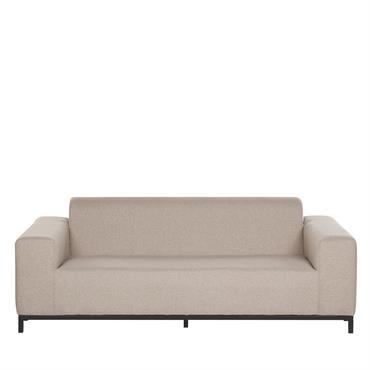 Canapé de jardin 3 places en tissu beige / pieds noirs