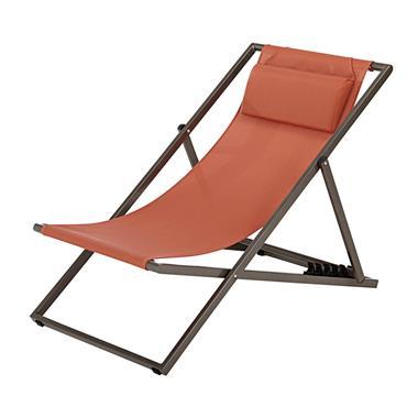 Chaise longue en toile plastifiée terracotta Split
