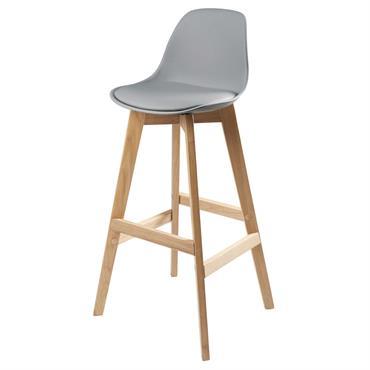 Chaise de bar style scandinave grise et chêne Ice