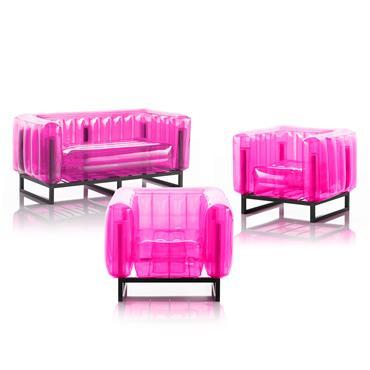 Salon de jardin design 1 canapé et 2 fauteuils roses cadre aluminium