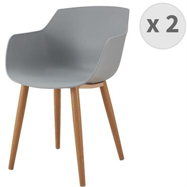 ANDREA-Chaise scandinave gris pied métal effet bois